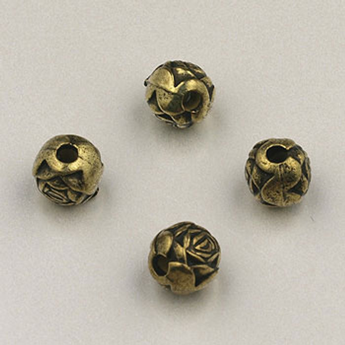 GP0010 - 6mm Rosebud, Antique Oxidized Gold Plate (pkg of 200)