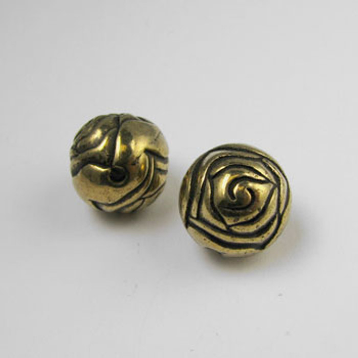 GP0012 - 14mm Rosebud, Antique Oxidized Gold Plate (pkg of 25)