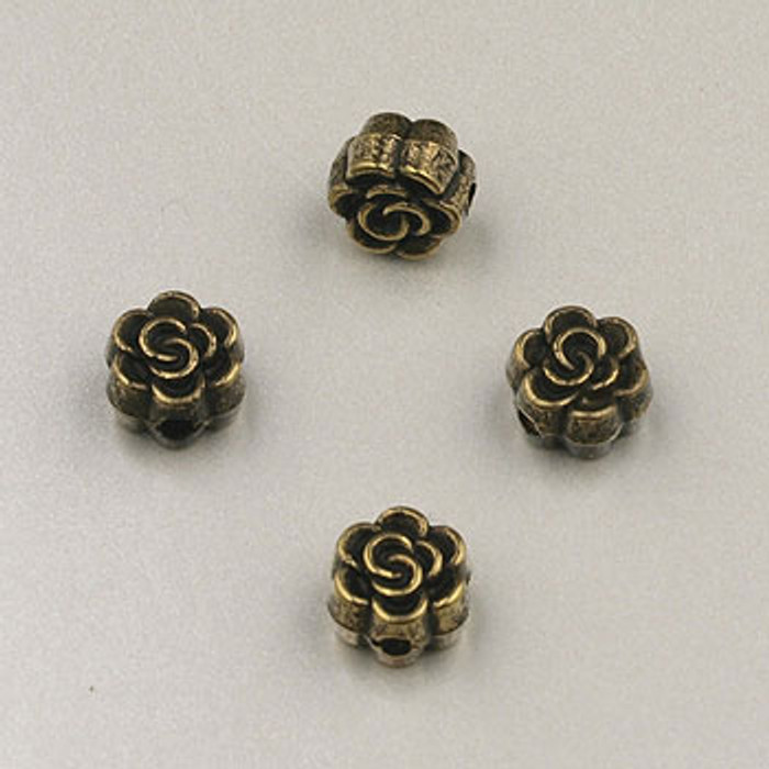 GP0013 - 5mm Flat Rose, Antique Oxidized Gold Plate (pkg of 50)
