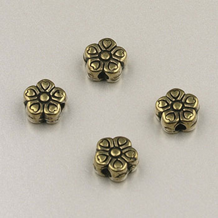 GP0014 - 5mm Flat Daisy, Antique Oxidized Gold Plate (pkg of 50)