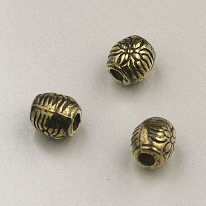 GP0016 - 6mm Flower Round, Antique Oxidized Gold Plate (pkg of 50)