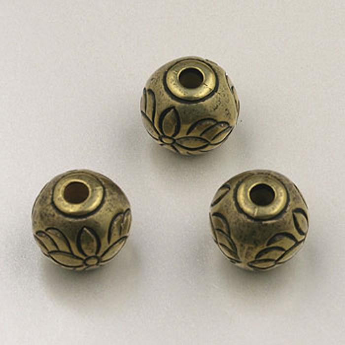 GP0017 - 10mm Flower Round, Antique Oxidized Gold Plate (pkg of 15)
