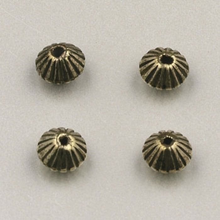 GP0020 - 4mm Corrugated Bicone, Antique Oxidized Gold Plate (pkg of 150)