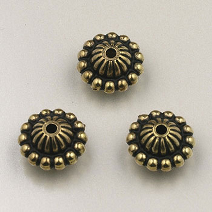 GP0025 - 12mm Saturn, Antique Oxidized Gold Plate (pkg of 25)