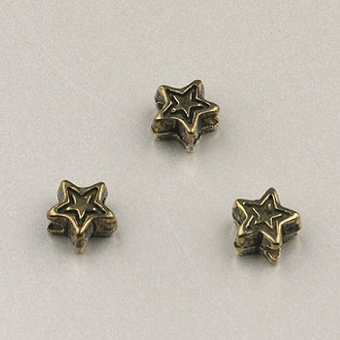 GP0030 - 4mm Star, Antique Oxidized Gold Plate (pkg of 100)