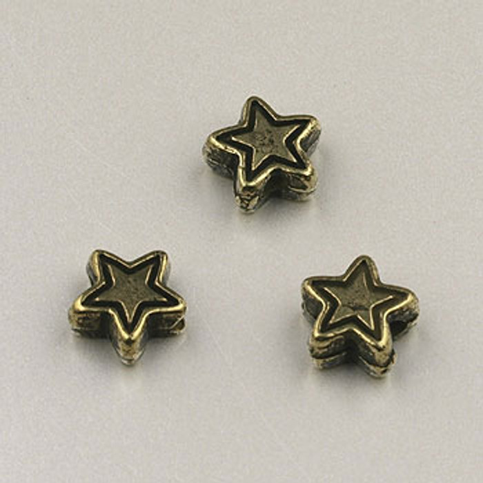 GP0031 - 6mm Star, Antique Oxidized Gold Plate (pkg of 100)