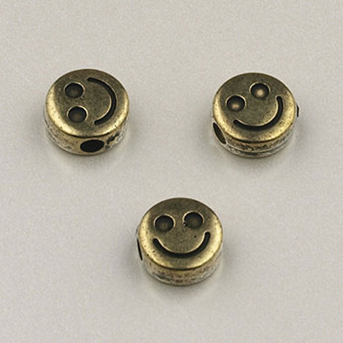 GP0034 - 6mm Flat Happy Face, Antique Oxidized Gold Plate (pkg of 100)