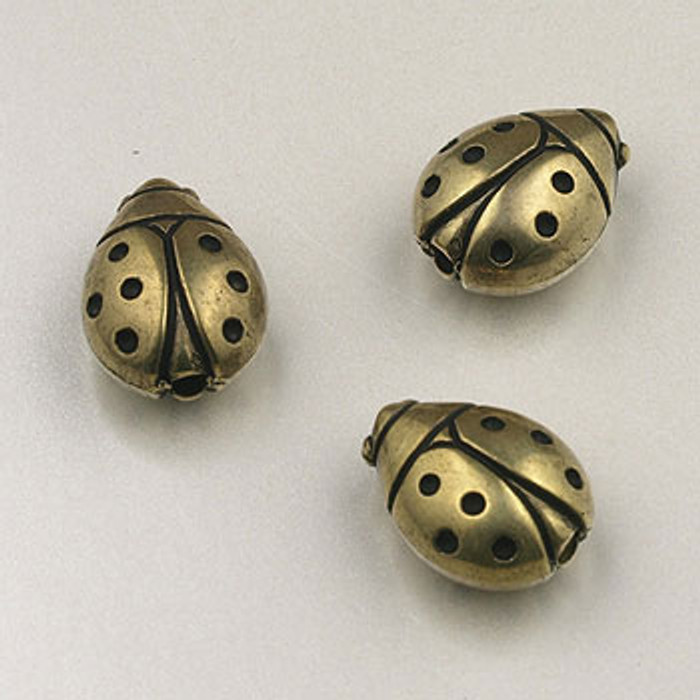 GP0036 - 11mm Ladybug, Antique Oxidized Gold Plate (pkg of 20)