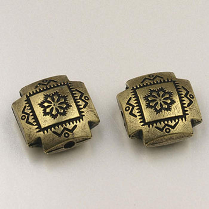 GP0038 - 16mm 4-Corners Bead, Antique Oxidized Gold Plate (pkg of 15)