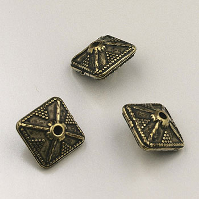 GP0041 - 12mm Puffed Bicone, Antique Oxidized Gold Plate (pkg of 25)
