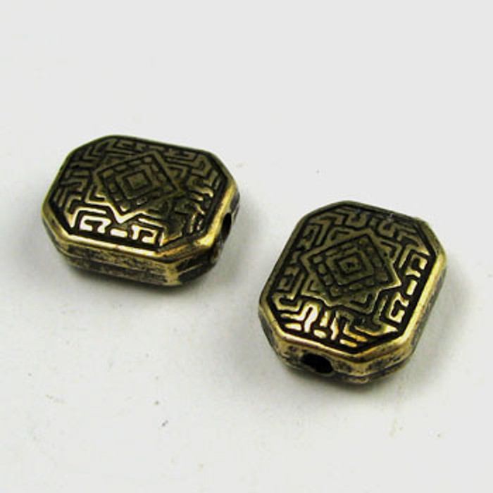 GP0042 - 11mm Maze Bead, Antique Oxidized Gold Plate (pkg of 50)