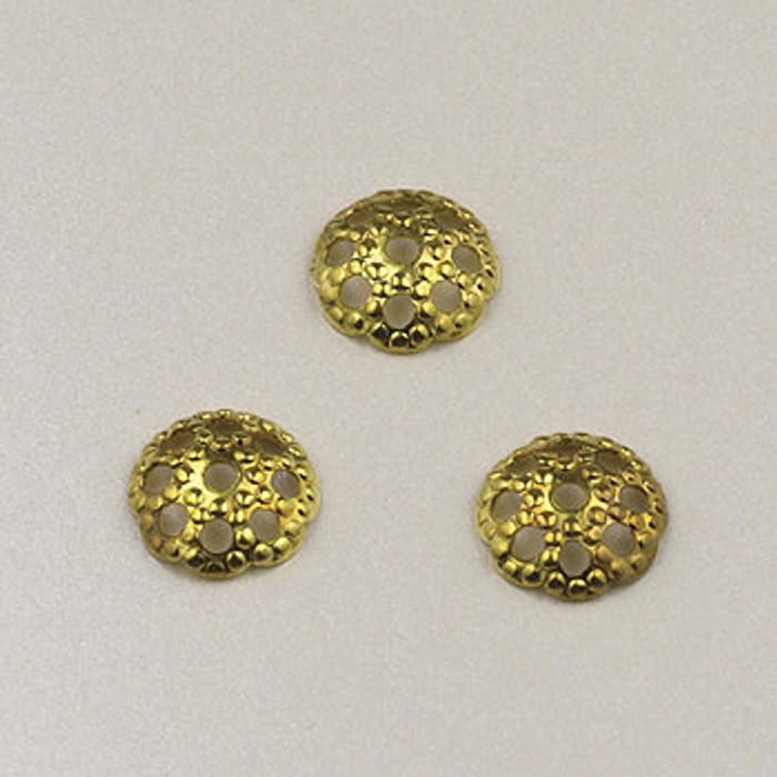 GP0163 - 6mm Bead Cap, Gold-Plate (pkg of 50)