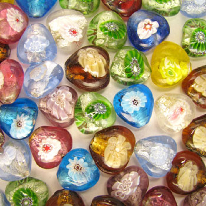 MIX0014 - India Millifiori Foil Mix - approx. 14 x 16mm hearts (assorted colors) - approx. 25 beads per 50 grams