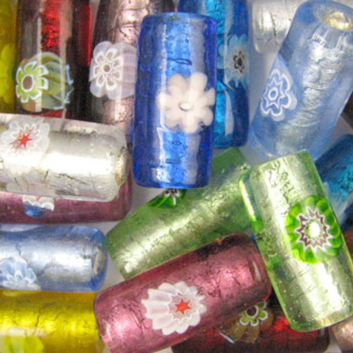 MIX0016 - India Millifiori Foil Mix - approx. 23 x 10mm tubes (assorted colors) - approx. 12 beads per 50 grams
