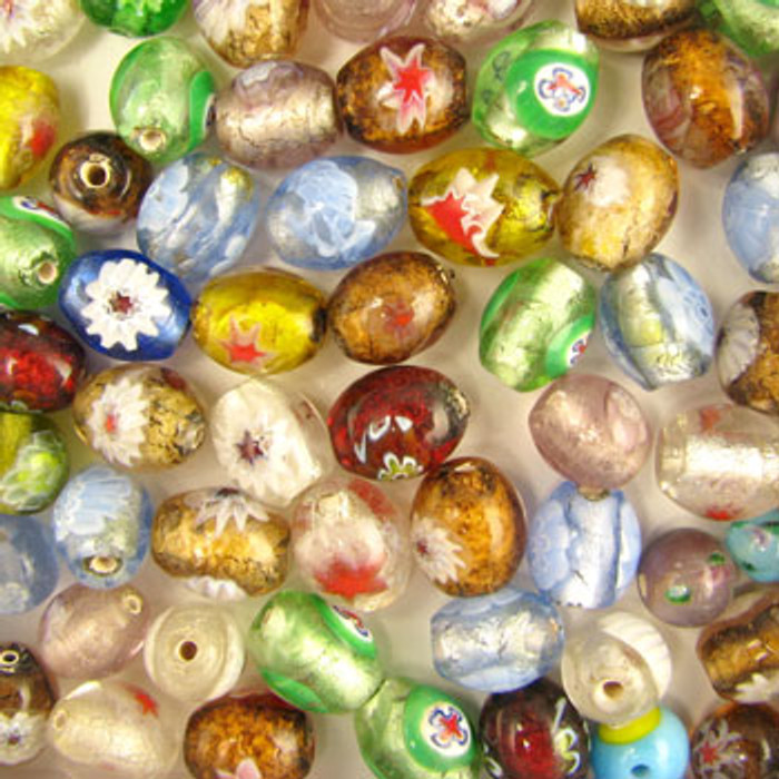 MIX0018 - India Millifiori Foil Mix - approx. 11 x 9mm oval (assorted colors) - approx. 40 beads per 50 grams