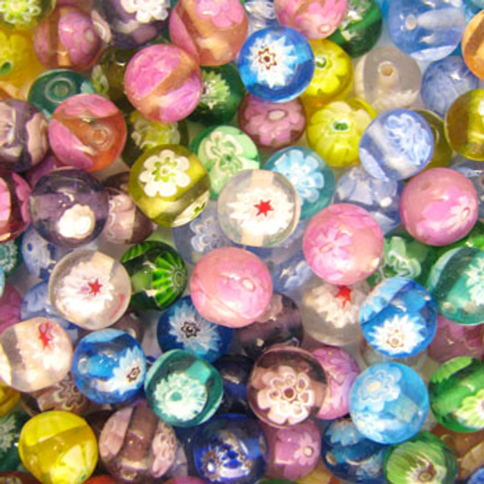 MIX0019 - India Millifiori Foil Mix - approx. 8mm round (assorted colors) - approx. 50 beads per 50 grams