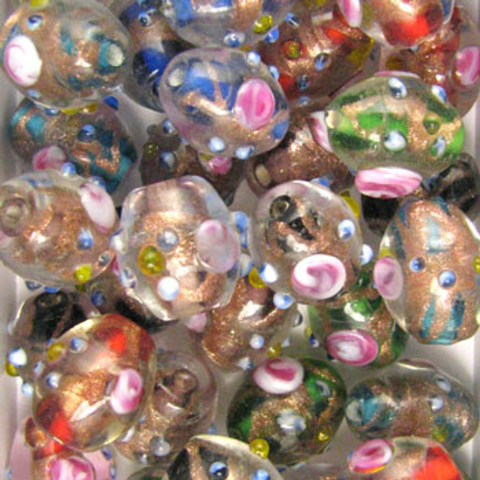 MIX0021 - India Foil Flower Mix - approx. 14 x 12mm oval (assorted colors) - approx. 20 beads per 50 grams