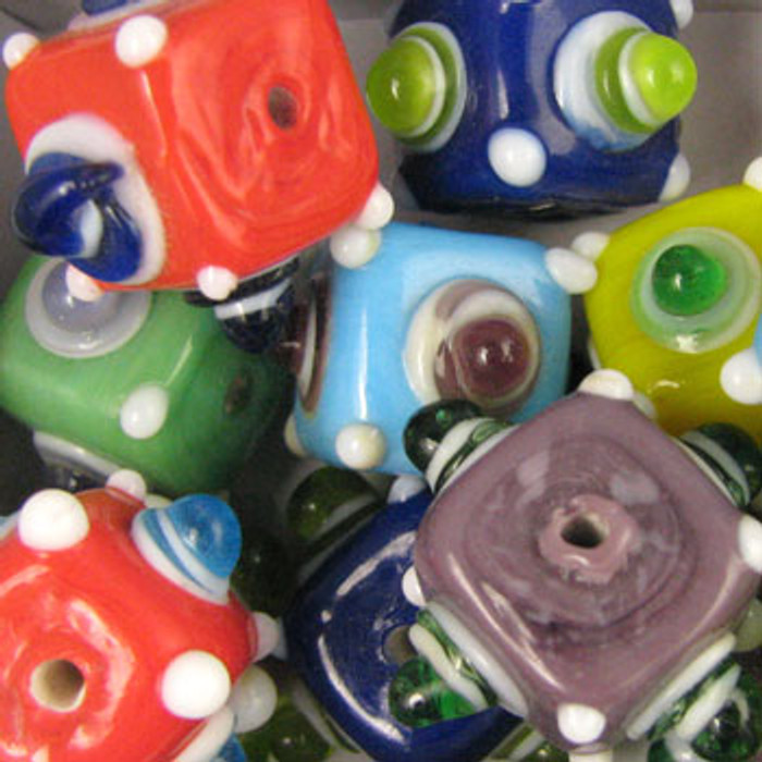 MIX0035 - India Opaque Bump Bead Mix - approx. 14mm cube (assorted colors) - approx. 6 beads per 50 grams