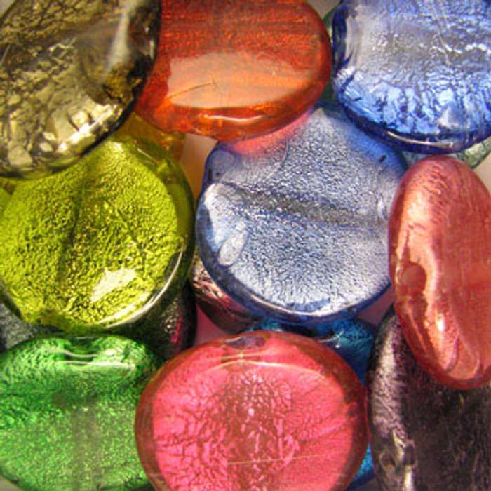 MIX0047 - India Dichroic Glass Mix - approx. 35mm large flat rounds (assorted colors)