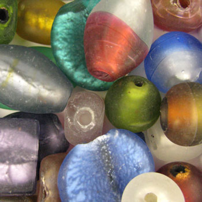 MIX0052 - India Dichroic Glass Matte Mix - (assorted sizes/shapes/colors) - approx. 5 beads per 50 grams