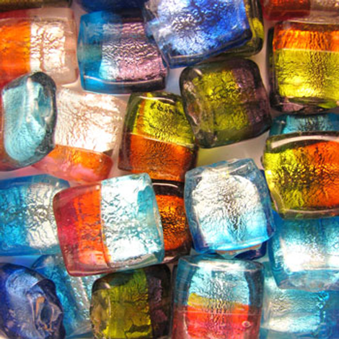 MIX0055 - India Dichroic Glass 2 Tone Mix - approx. 20mm flat square (assorted colors)