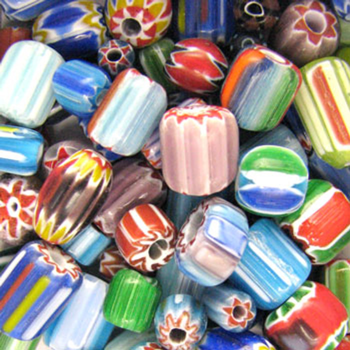 MIX0059 - India Chevron Mix - (assorted sizes/shapes/colors) - approx. 65 beads per 50 grams