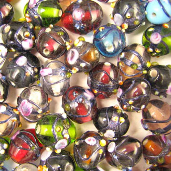 MIX0072 - India Raised Blue Foil Mix - approx. 15 x 12mm oval (assorted colors) - approx. 19 beads per 50 grams