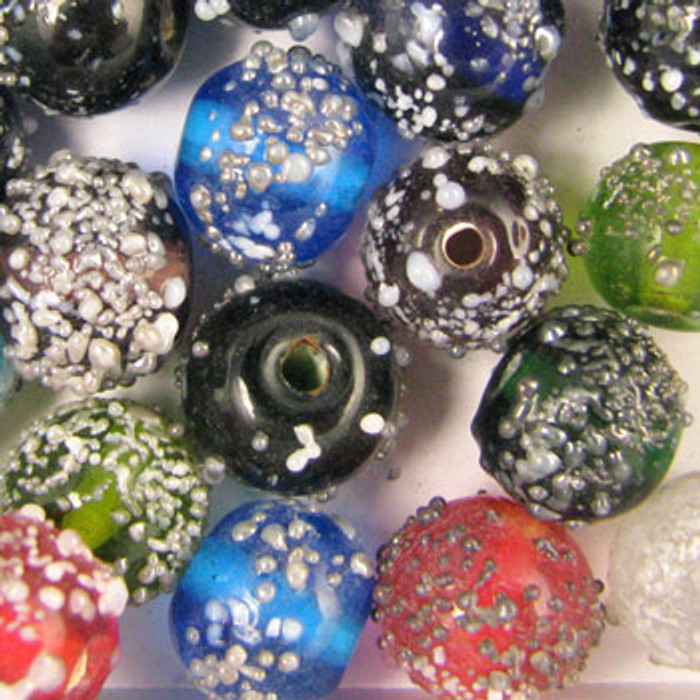 MIX0074 - India Sugar Bead Mix - approx. 10mm round (assorted colors) - approx. 36 beads per 50 grams