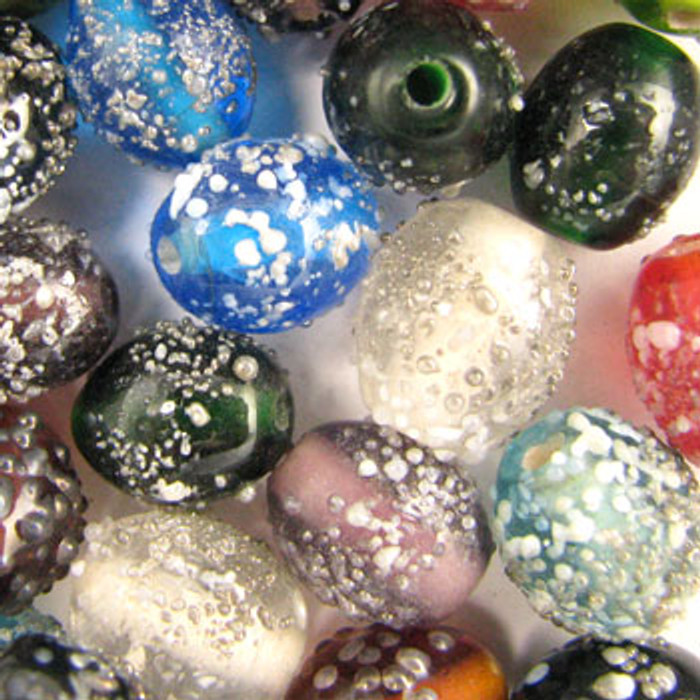 MIX0075 - India Sugar Bead Mix - approx. 12 x 10mm oval (assorted colors) - approx. 36 beads per 50 grams