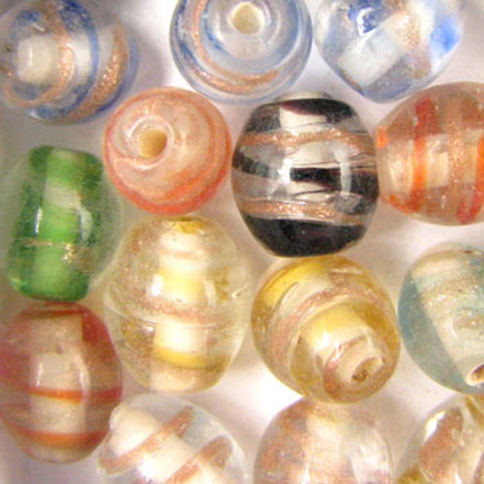 MIX0082 - India Transparent Spiral Foil Mix - approx. 7 x 12mm oval (assorted colors) - approx. 40 beads per 50 grams