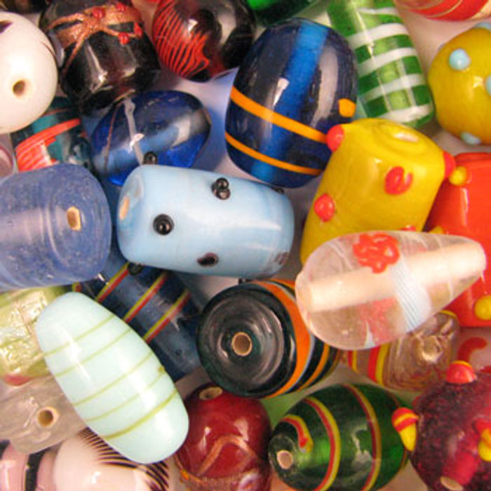 MIX0086 - India Large Fancy Mix - (assorted sizes/shapes/colors) - approx. 13 beads per 50 grams