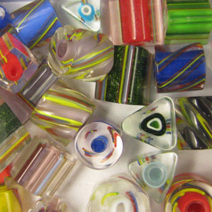MIX0093 - Chinese Cane Glass Mix - (assorted sizes/shapes/colors) - approx. 34 beads per 50 grams
