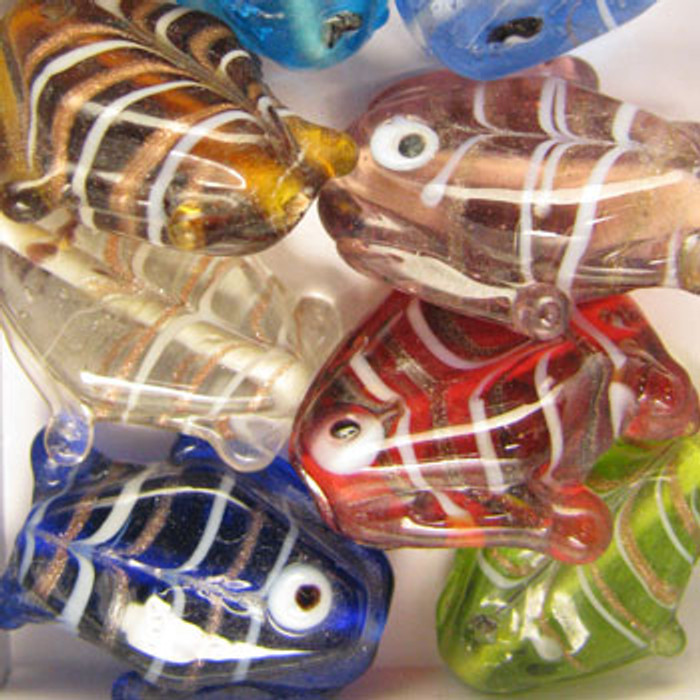 MIX0097 - India Large Glass Foil Fish - approx. 25mm (assorted colors)