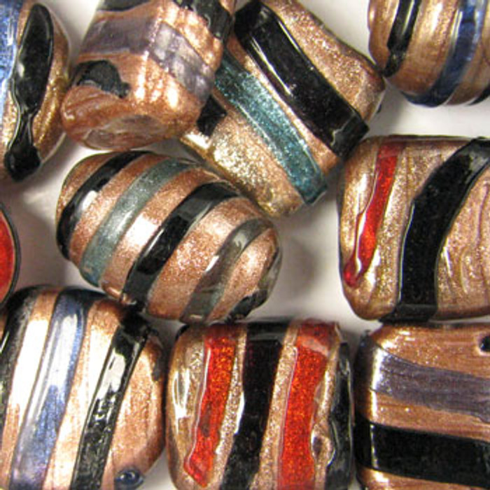 MIX0103 - Aventurine Stripe Mix - (assorted sizes/shapes/colors) - approx. 10 beads per 50 grams
