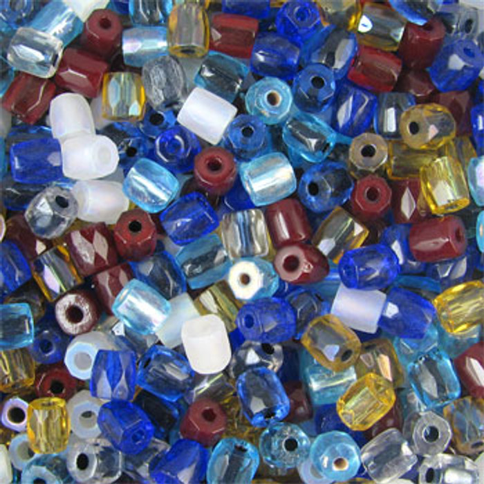 MIX0107 - Czech Potato Fire Polish Mix - approx. 7mm, large hole (1.5mm - 2mm) (assorted colors) - approx. 100 beads per 50 grams