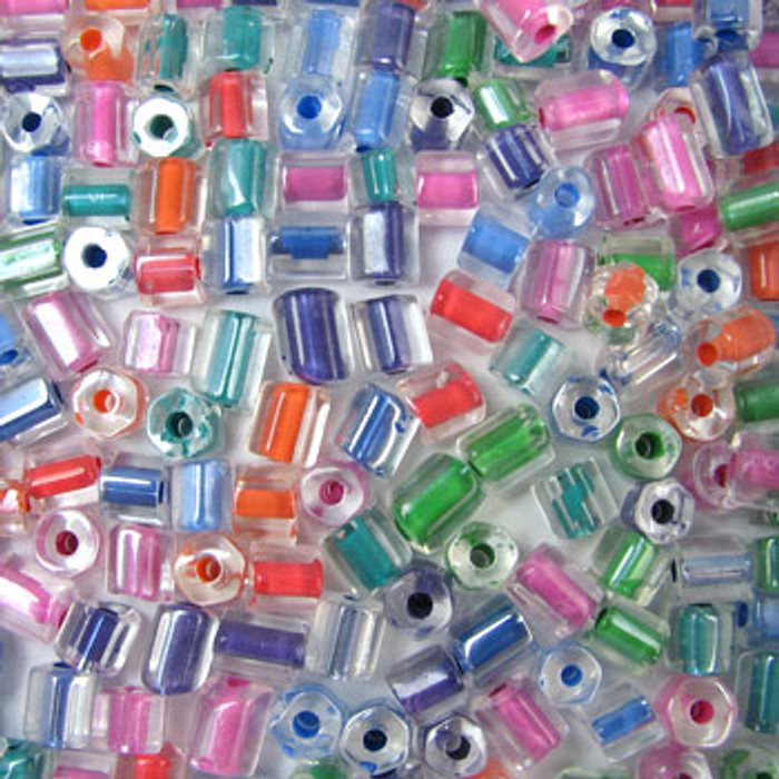 MIX0108 - Czech Color Lined Mix - approx. 7mm, large hole (approx. 2mm) (assorted colors) - approx. 100 beads per 50 grams