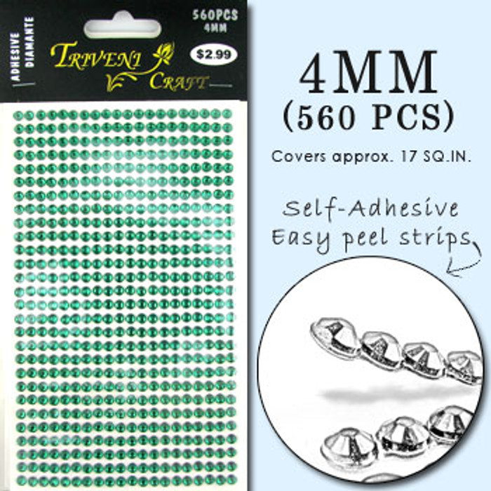4mm Dark Green Flatback Rhinestones (560 pcs) Self-Adhesive - Easy Peel Strips