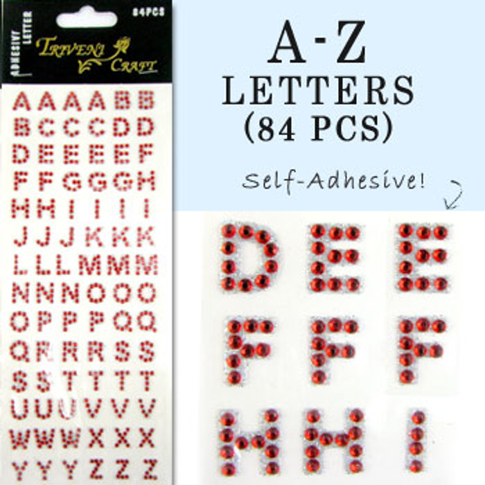 10mm (3/8 in.) Red Alphabet Letters, Flatback Rhinestones (84 pcs) Self-Adhesive - Easy Peel Strips