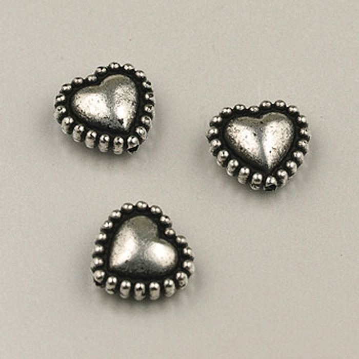 SP0051 - 10mm Beaded Heart Silver Plate (pkg of 25)