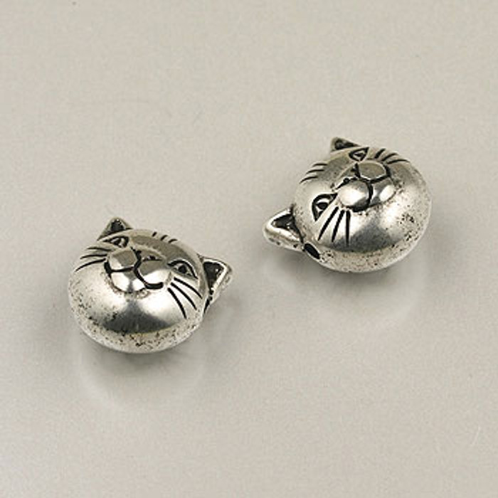 SP0060 - 10mm Cat Face Silver Plate (pkg of 10)