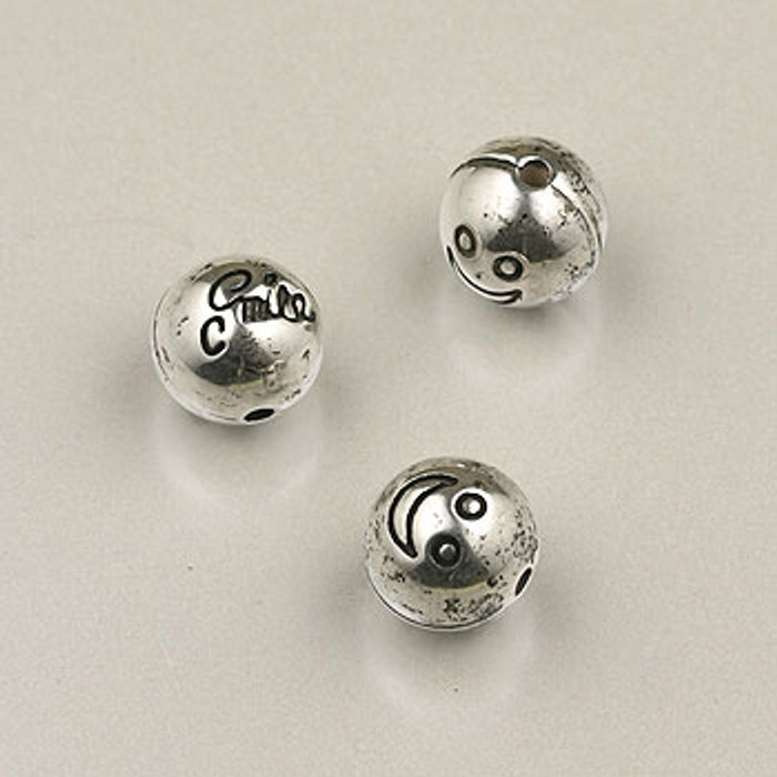 SP0062 - 8mm ''Smile'' Round Silver Plate (pkg of 50)