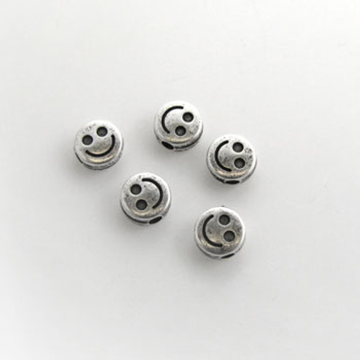 SP0063 - 6mm Flat Happy Face, Silver Plate (pkg of 50)