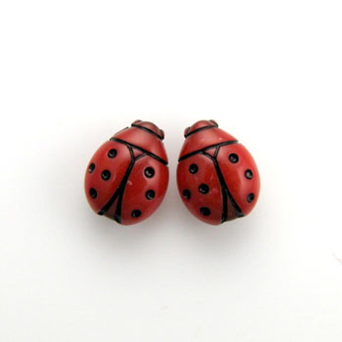 SP0065 - 12mm Red Ladybug, Silver Plate (pkg of 20)