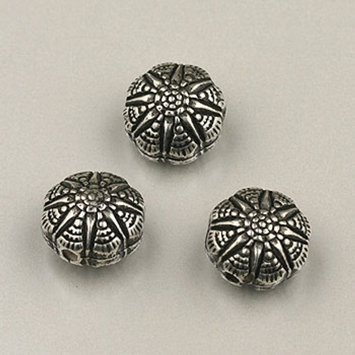 SP0074 - 10mm Morning Star Disc Bead Silver Plate (pkg of 25)