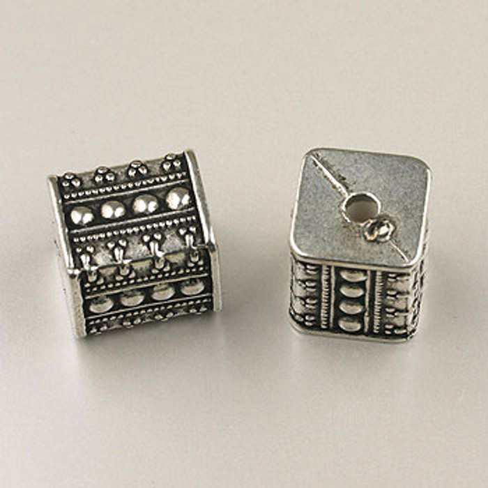 SP0083 - 16mm Square Bead Silver Plate (pkg of 10)