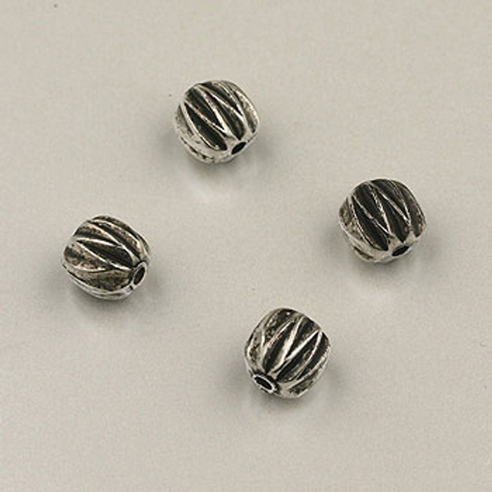 SP0084 - 6mm Ridged Bead Silver Plate (pkg of 20)