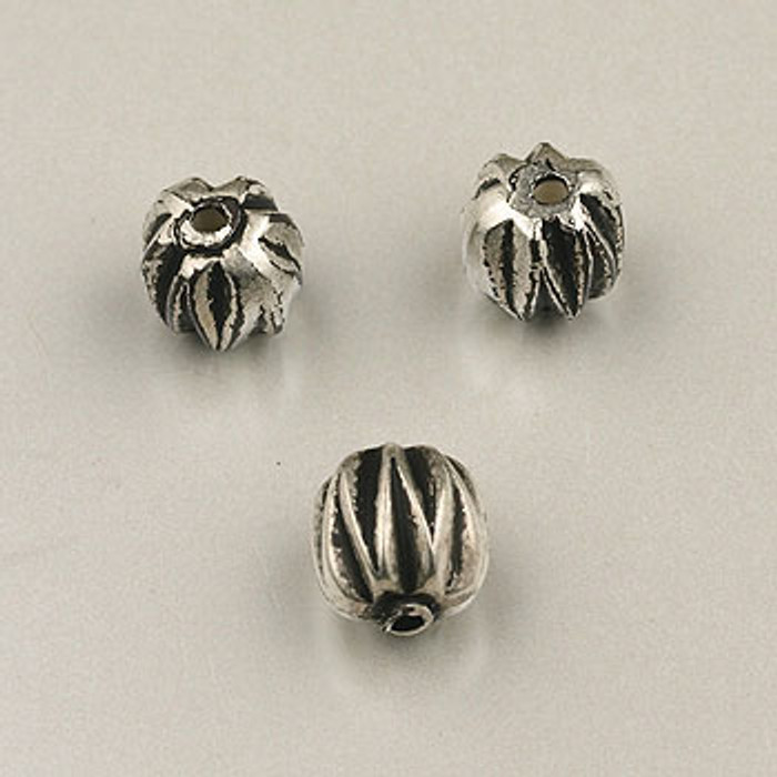 SP0085 - 8mm Ridged Bead Silver Plate (pkg of 15)
