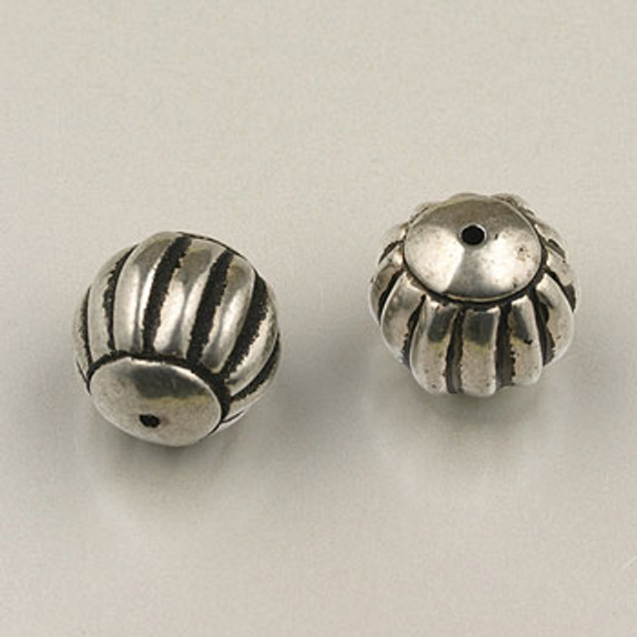 SP0088 - 15mm Ribbed Round Silver Plate (pkg of 10)