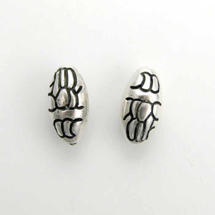SP0108 - 9x19mm Lined Oval Bead, Silver Plate (pkg of 10)
