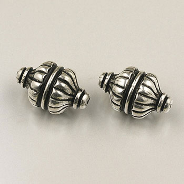SP0112 - 13x23mm Fluted Oval Bead, Silver Plate (pkg of 6)